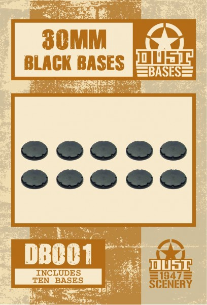 30MM BLACK BASES - SMOOTH SURFACE