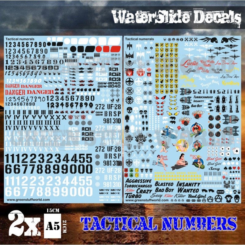 Zdjęcie Waterslide Decals – Tactical Numerals and Pinups