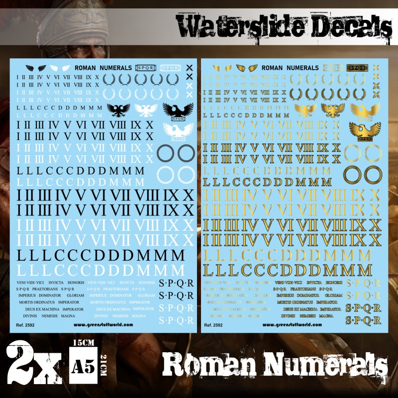 Waterslide Decals - Roman Numerals
